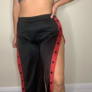 Black and red rack pants with buttons